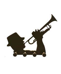 perchero trompetista negro