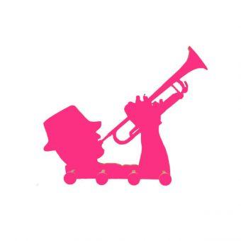 perchero trompetista fucsia