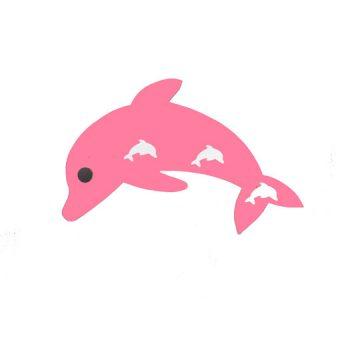 perchero delfin rosa de frente